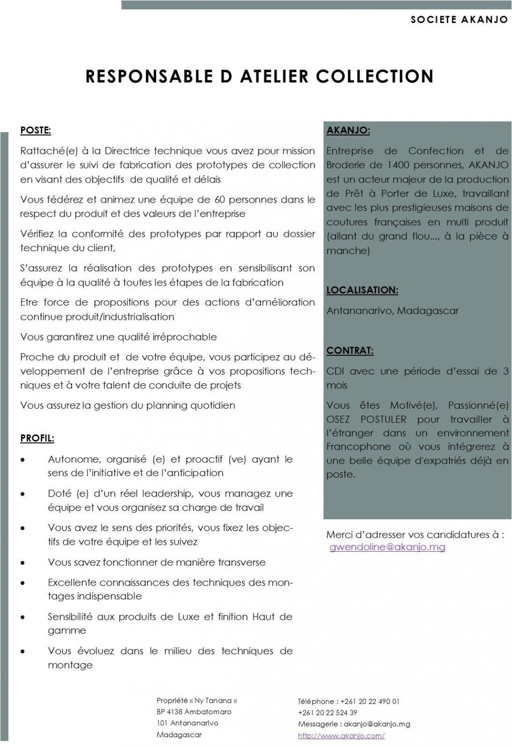 responsable atelier collection