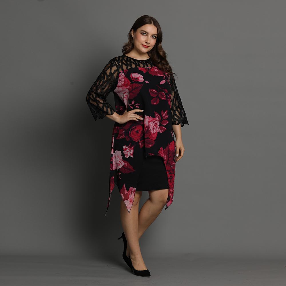 élégante robe noir à imprimé grande taille