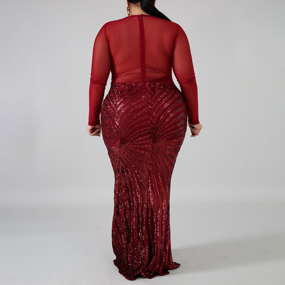 Sexy robe grande taille paillettes col en v