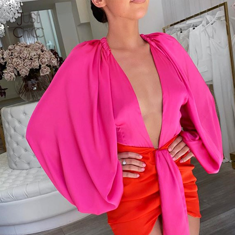 Mini robe moulante plissé Satin à manches longues