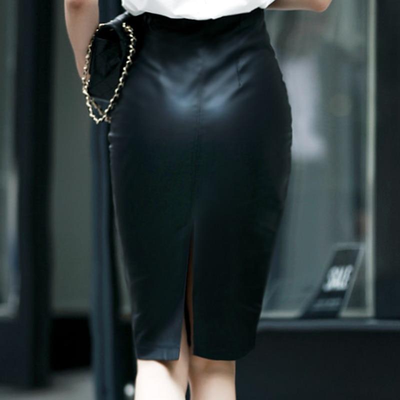 jupe crayon noir taille haute moulante en cuir synthétique polyuréthane