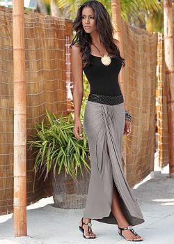 jupe longue grise
