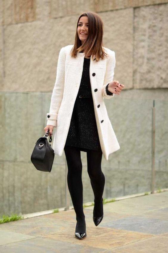 manteau blanc robe noire
