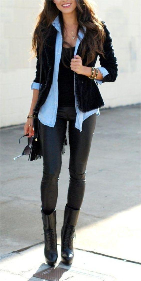 pantalon et veste cuir