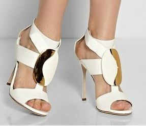 sandales talons blanches