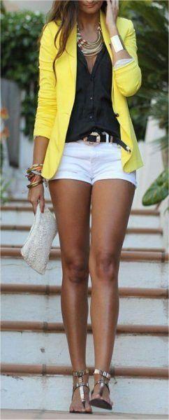 top jaune short