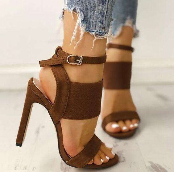 sandales talons marrons