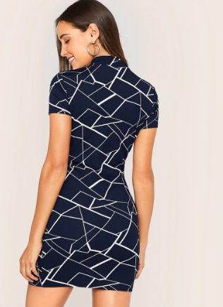 robe moulante géométrique