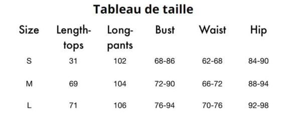tableau taille
